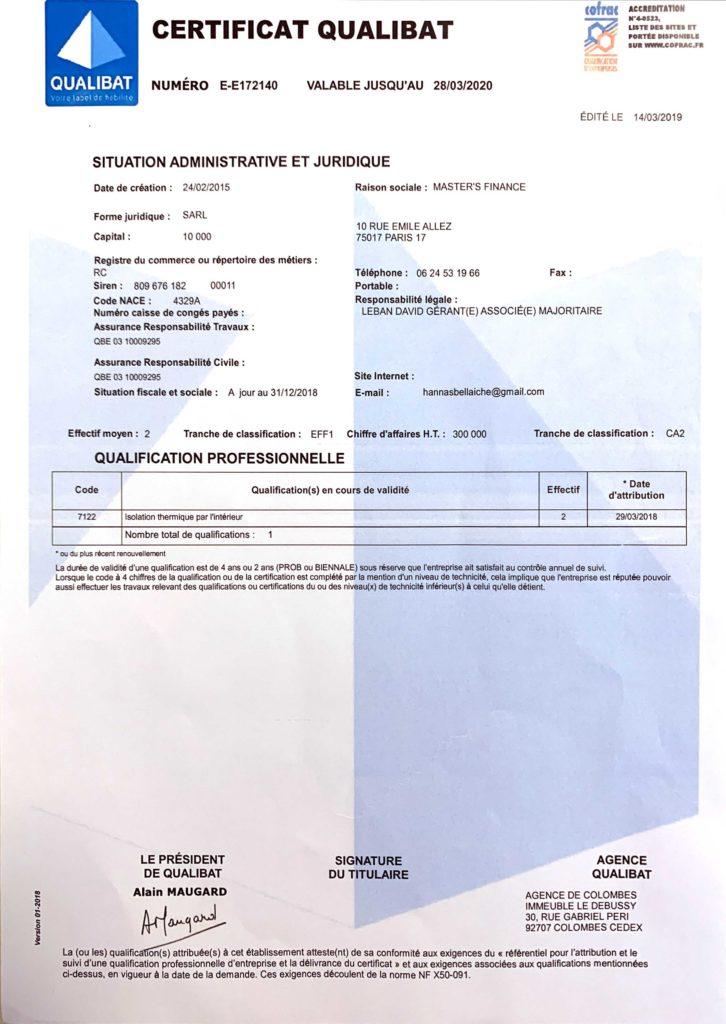 Consultez nos certificats et qualifications Master Energie