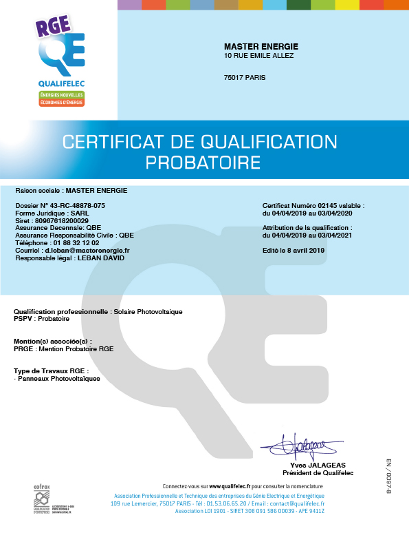 Certificat de qualification probatoire RGE Master Energie
